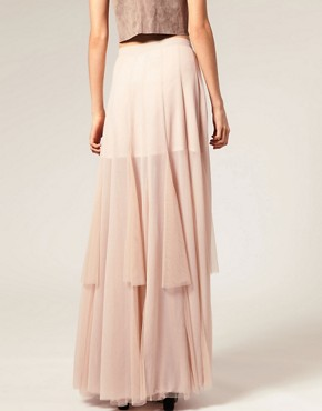 Image 2 ofASOS Mesh and Chiffon Maxi Skirt