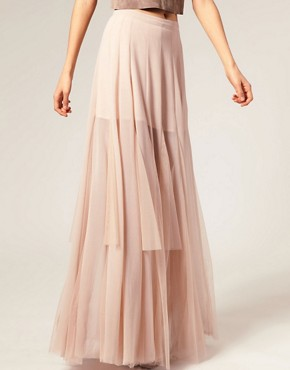 Image 4 ofASOS Mesh and Chiffon Maxi Skirt