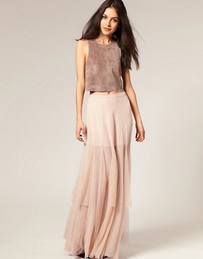Image 1 ofASOS Mesh and Chiffon Maxi Skirt