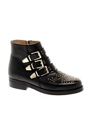 ASOS AMAZON Leather Studded Biker Boots