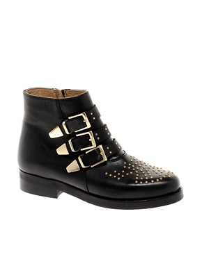 Image 1 of ASOS AMAZON Leather Studded Biker Boots