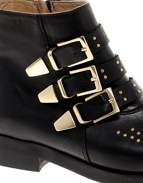 Image 2 ofASOS AMAZON Leather Studded Biker Boots