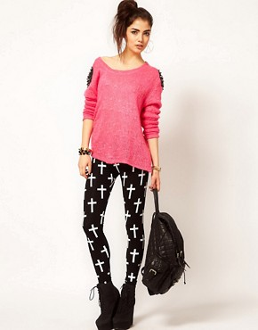 Image 1 ofReverse Cross Print Leggings
