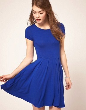 Image 1 ofASOS Skater Dress with Cap Sleeves