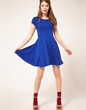 Image 4 ofASOS Skater Dress with Cap Sleeves