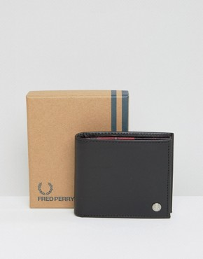 Fred Perry Leather Billfold Wallet With Tartan Lining
