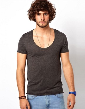 Image 1 ofASOS T-Shirt With Raw Edge U-Neck