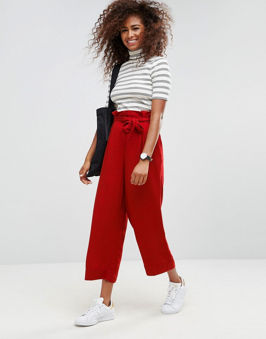 ASOS Wide Leg Trousers with Paperbag Waist - Red