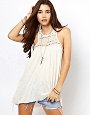 Free People Embroidered Swing Tank with Split Back Detail