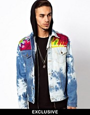 Reclaimed Vintage Denim Jacket with Acid Wash Tie-Dye Panels
