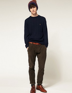 Image 4 ofFarah Vintage Kingston Crew Cable Knit Jumper