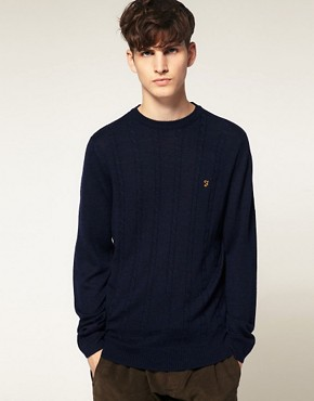 Image 1 ofFarah Vintage Kingston Crew Cable Knit Jumper