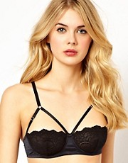 ASOS Boudoir Lace Demi Cup Strap Detail Bra