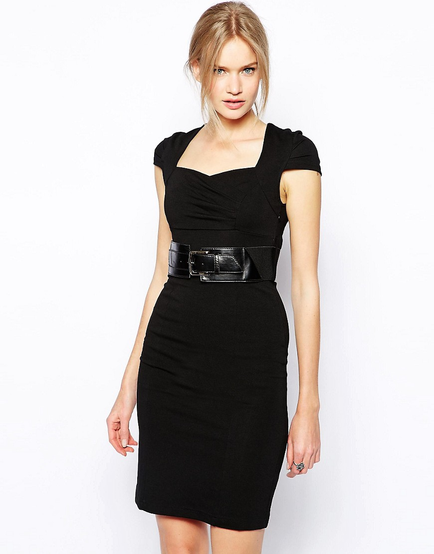 QED London Belted Work Dress - Black