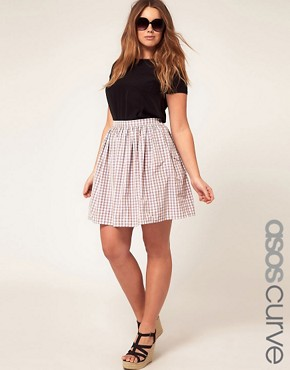 Image 1 ofASOS CURVE Exclusive Skirt In Pretty Gingham