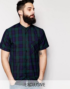 Reclaimed Vintage Short Sleeve Checked Shirt with Grandad Collar