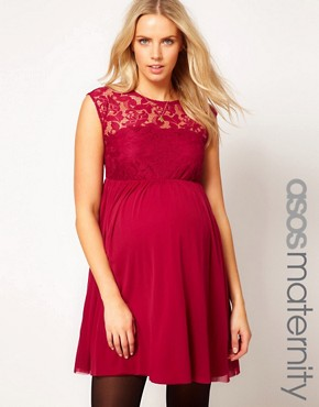 Image 1 ofASOS Maternity Lace And Mesh Skater Dress