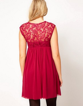 Image 2 ofASOS Maternity Lace And Mesh Skater Dress