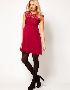 Image 4 ofASOS Maternity Lace And Mesh Skater Dress