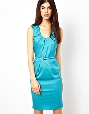 Warehouse Dress With Pleat Neck