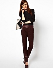 ASOS Peg Pant in Leather and Suede Panels