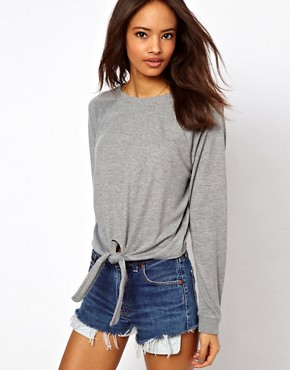 Image 1 ofASOS Jumper with Supersoft Raglan Tie Front