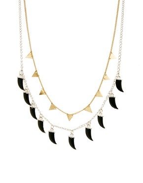 Image 1 ofASOS 2 Pack Triangle &amp; Horn Necklaces