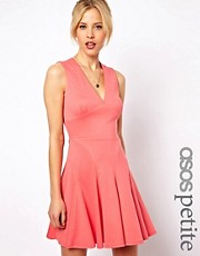 ASOS PETITE Exclusive Skater Dress With Deep V-neck And Seam Deatil