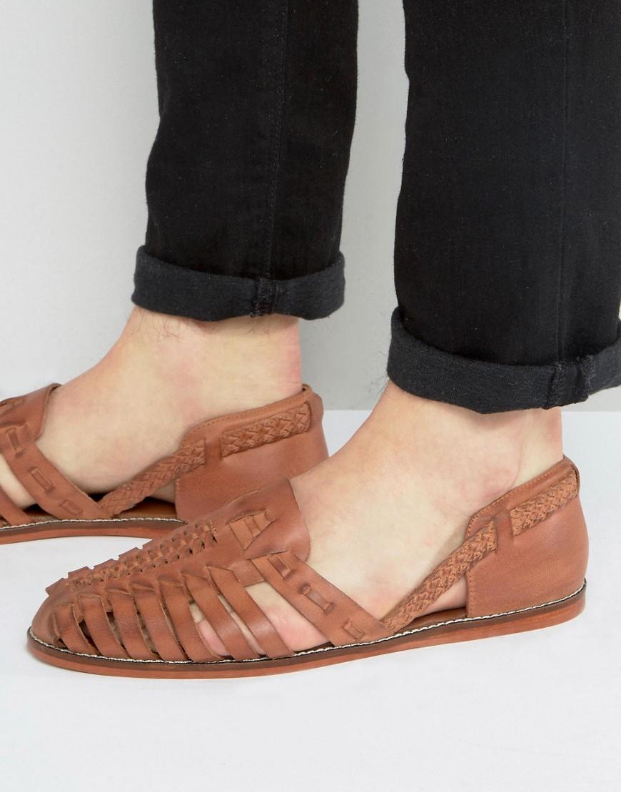 Светло-коричневые плетеные кожаные сандалии ASOS - Рыжий