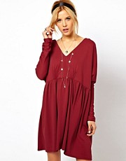 ASOS Smock Dress With V Neck