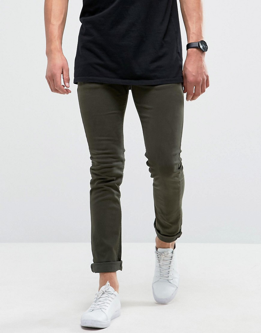 Loyalty and Faith Skinny Fit Jeans with Light Abbrasions in Khaki - Green