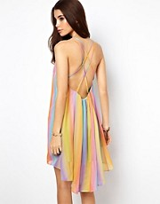 ASOS Rainbow Swing Dress with Cami Back