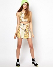 Illustrated People All Over Egyptian Digital Print Mini Skirt