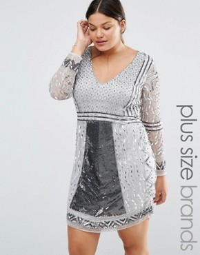 Lovedrobe Luxe Long Sleeve Plunge Front Heavily Embellished Shift Dress