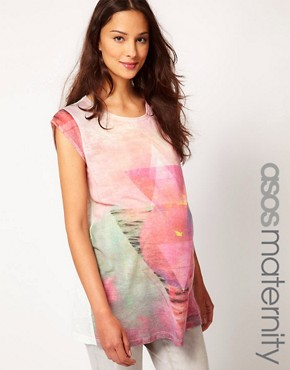 Image 1 ofASOS Maternity T-Shirt With Sunset Triangle