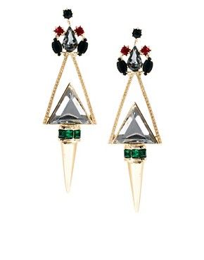 Image 1 ofASOS Jewelled Triangle Earrings