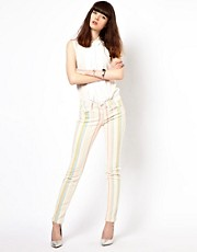 J Brand Candy Stripe Mid Rise Skinny Jeans