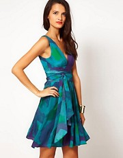 Halston Heritage Evening Dress In Water Mirage Print