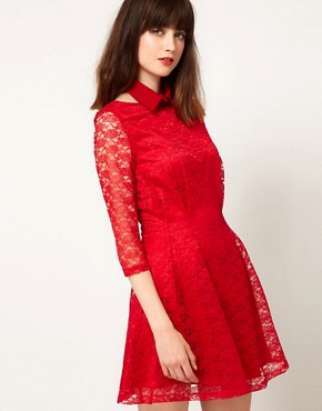 Image 1 ofNishe Lace Dress With Collar