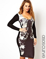 ASOS CURVE Exclusive Bodycon Dress With Butterfly Mono Print