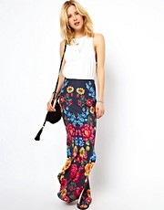 ASOS Maxi Skirt in Floral Print with Splits