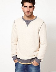 Nudie Crew Sweatshirt Slub Contrast Cuffs