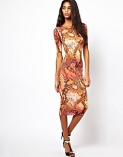 Oh My Love Midi Dress in Snake Print