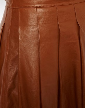Image 3 ofASOS CURVE Skater Skirt In Leather
