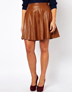 Image 4 ofASOS CURVE Skater Skirt In Leather