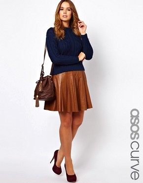 Image 1 ofASOS CURVE Skater Skirt In Leather