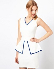 Love Peplum Dress With Contrast Lining