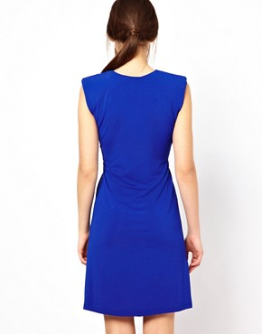 Image 2 ofSee By Chloe Slinky V Neck Dress with Shoulder Pads and Rouching