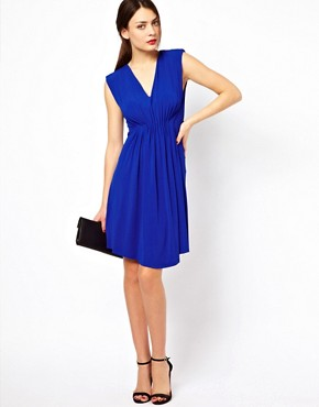 Image 4 ofSee By Chloe Slinky V Neck Dress with Shoulder Pads and Rouching