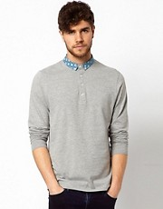 ASOS Polo With Long Sleeve And Woven Collar